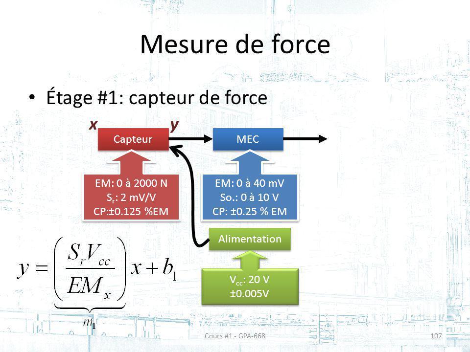 Mesure de force Étage #1: capteur de force x y Capteur MEC