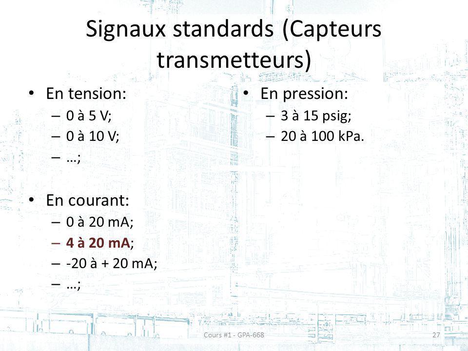 Signaux standards (Capteurs transmetteurs)
