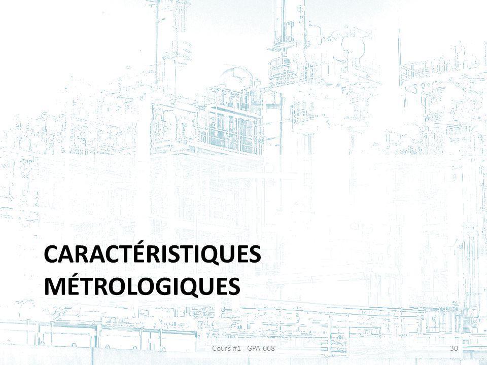 Caractéristiques métrologiques