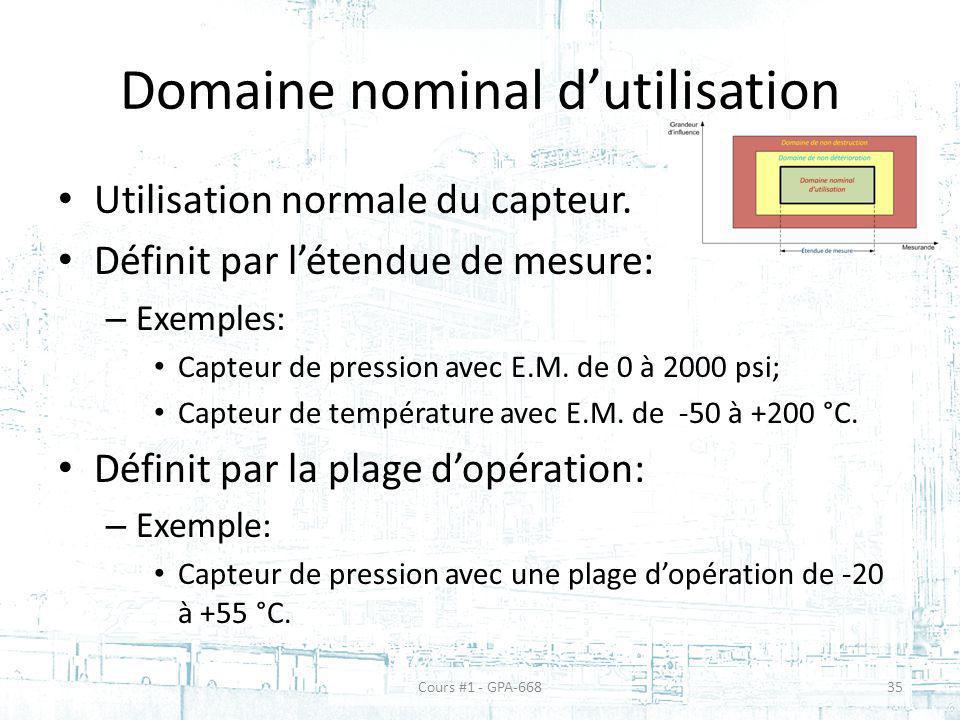 Domaine nominal d'utilisation