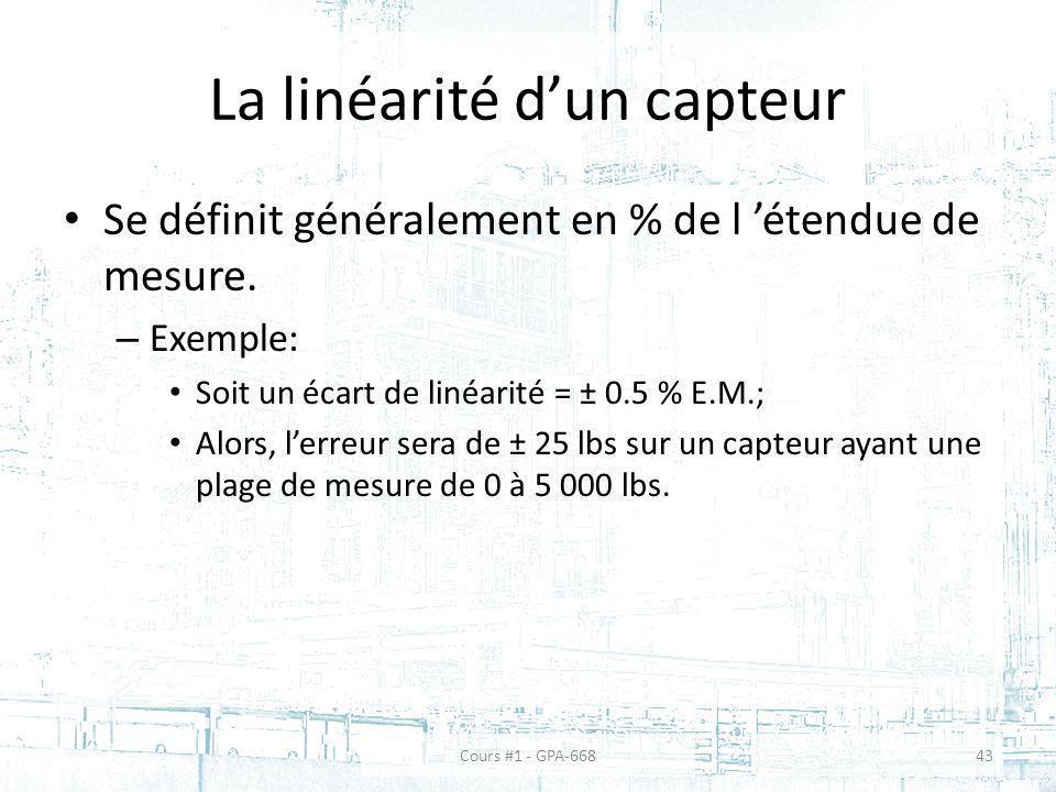 La linéarité d'un capteur