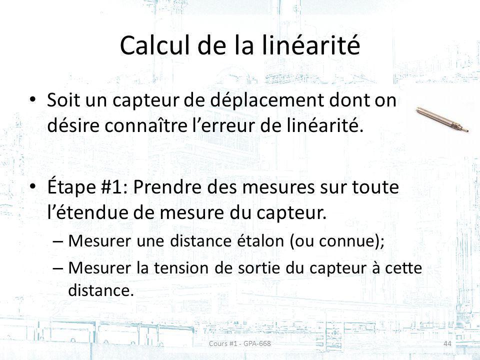 Calcul de la linéarité Soit un capteur de déplacement dont on désire connaître l'erreur de linéarité.