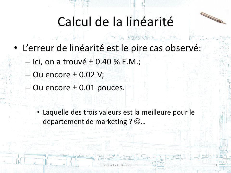 Calcul de la linéarité L'erreur de linéarité est le pire cas observé: