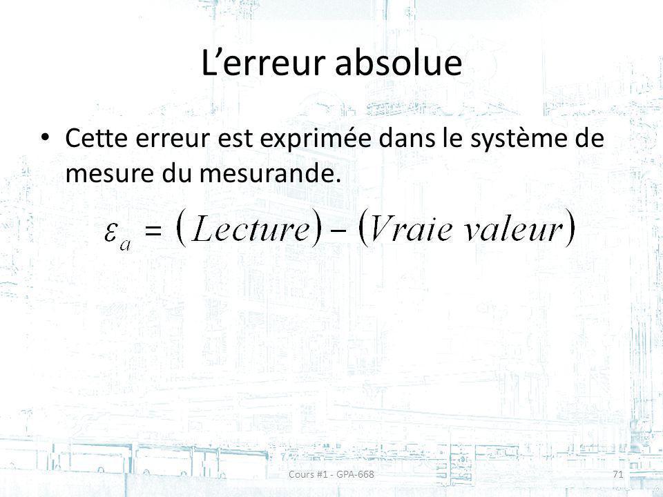 L'erreur absolue Cette erreur est exprimée dans le système de mesure du mesurande.