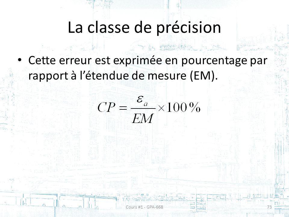 La classe de précision Cette erreur est exprimée en pourcentage par rapport à l'étendue de mesure (EM).