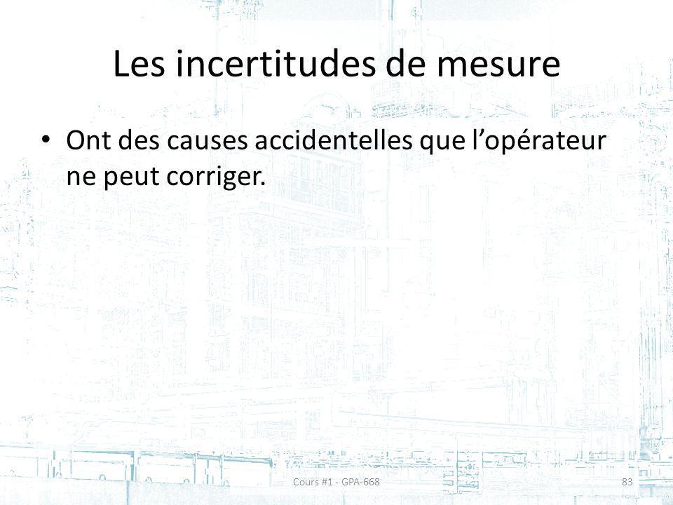 Les incertitudes de mesure