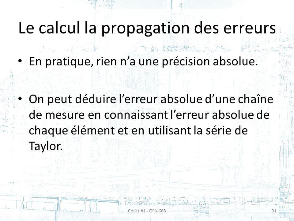 Le calcul la propagation des erreurs