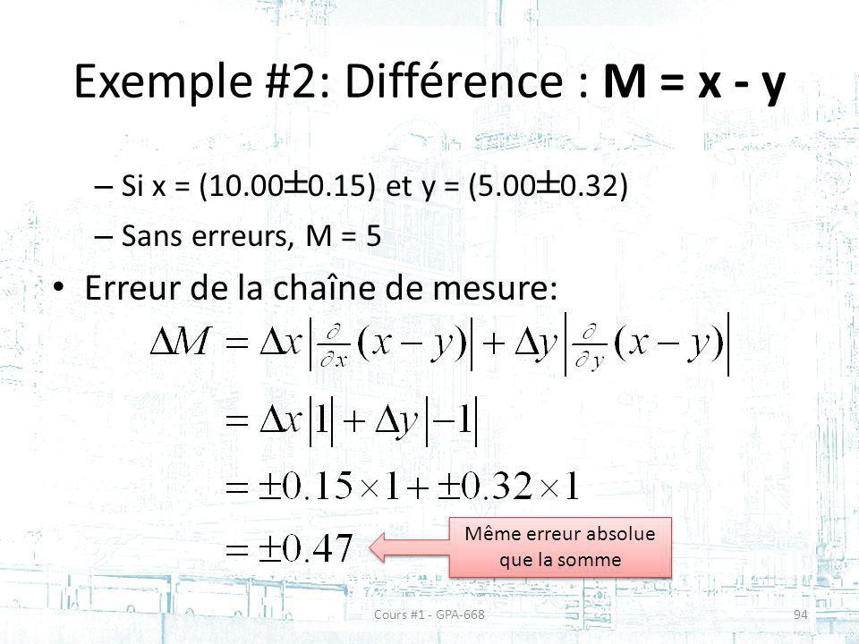 Exemple #2: Différence : M = x - y