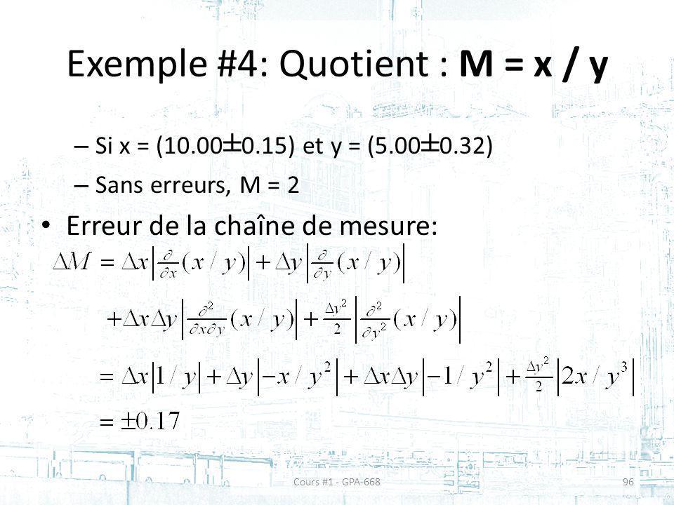 Exemple #4: Quotient : M = x / y