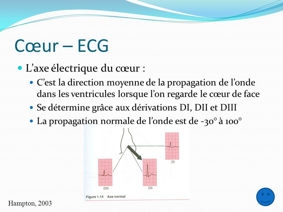 Cœur – ECG L'axe électrique du cœur :