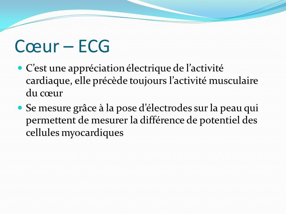 Cœur – ECG C'est une appréciation électrique de l'activité cardiaque, elle précède toujours l'activité musculaire du cœur.