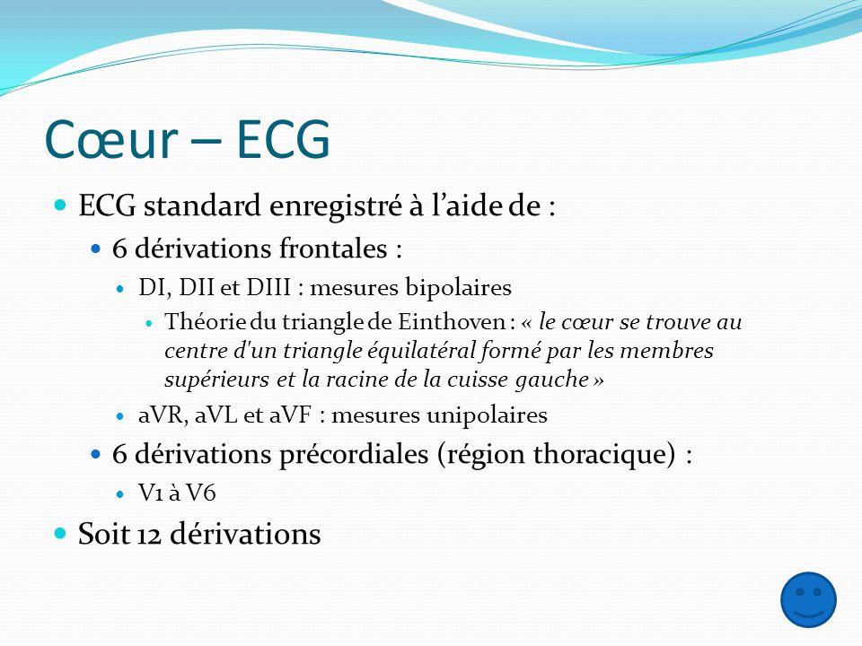 Cœur – ECG ECG standard enregistré à l'aide de : Soit 12 dérivations