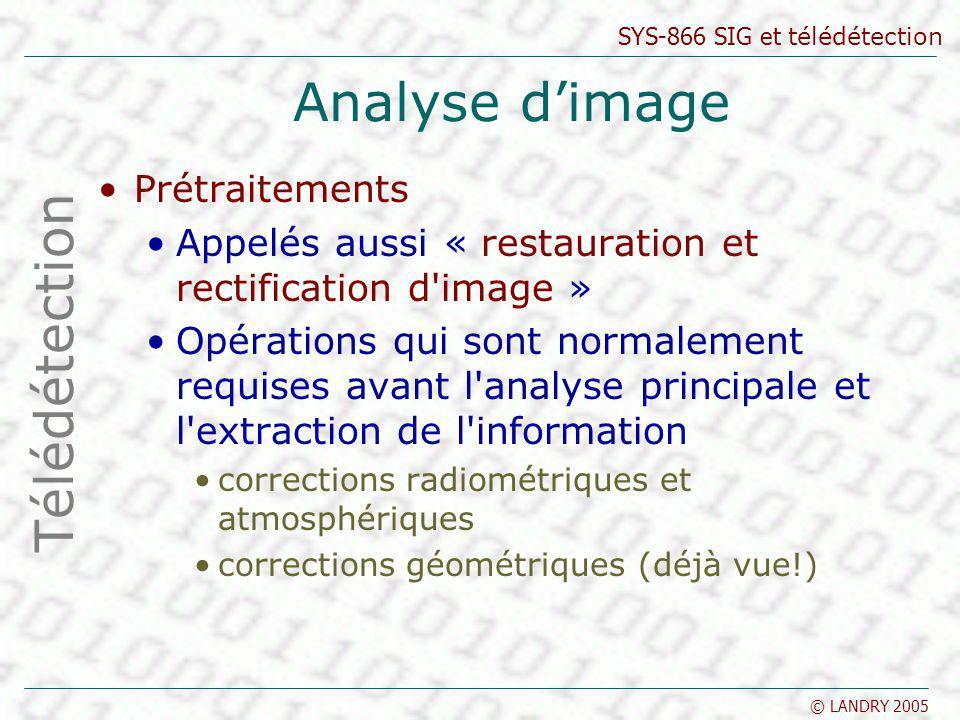 Analyse d'image Télédétection Prétraitements