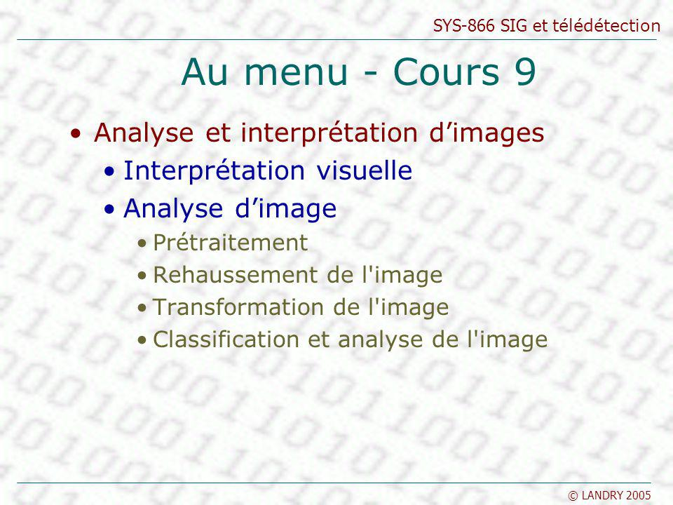 Au menu - Cours 9 Analyse et interprétation d'images