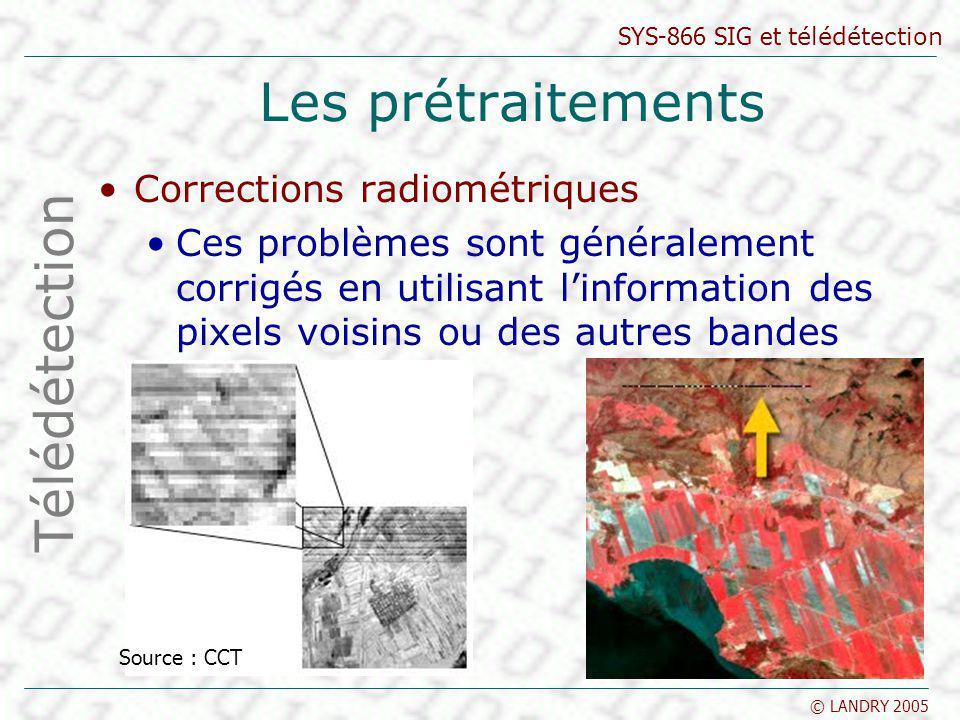 Les prétraitements Télédétection Corrections radiométriques