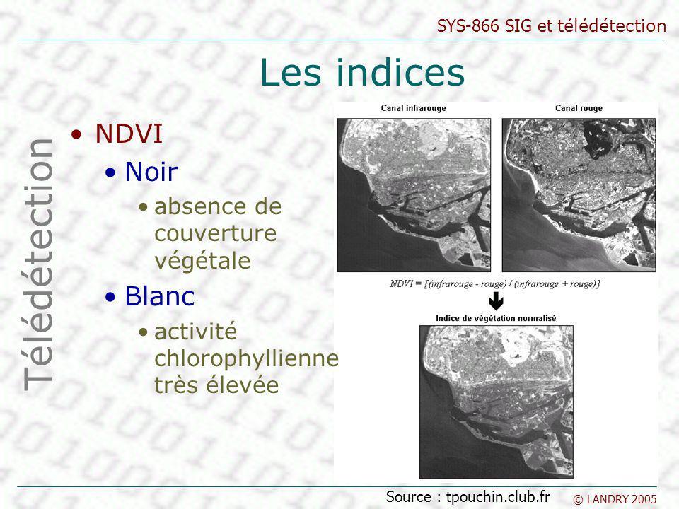 Les indices Télédétection NDVI Noir Blanc
