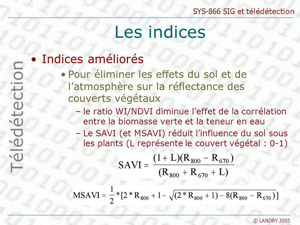 Les indices Télédétection Indices améliorés