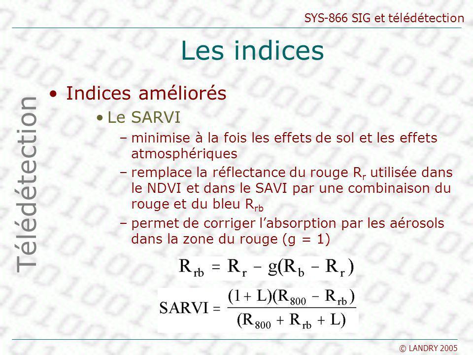 Les indices Télédétection Indices améliorés Le SARVI