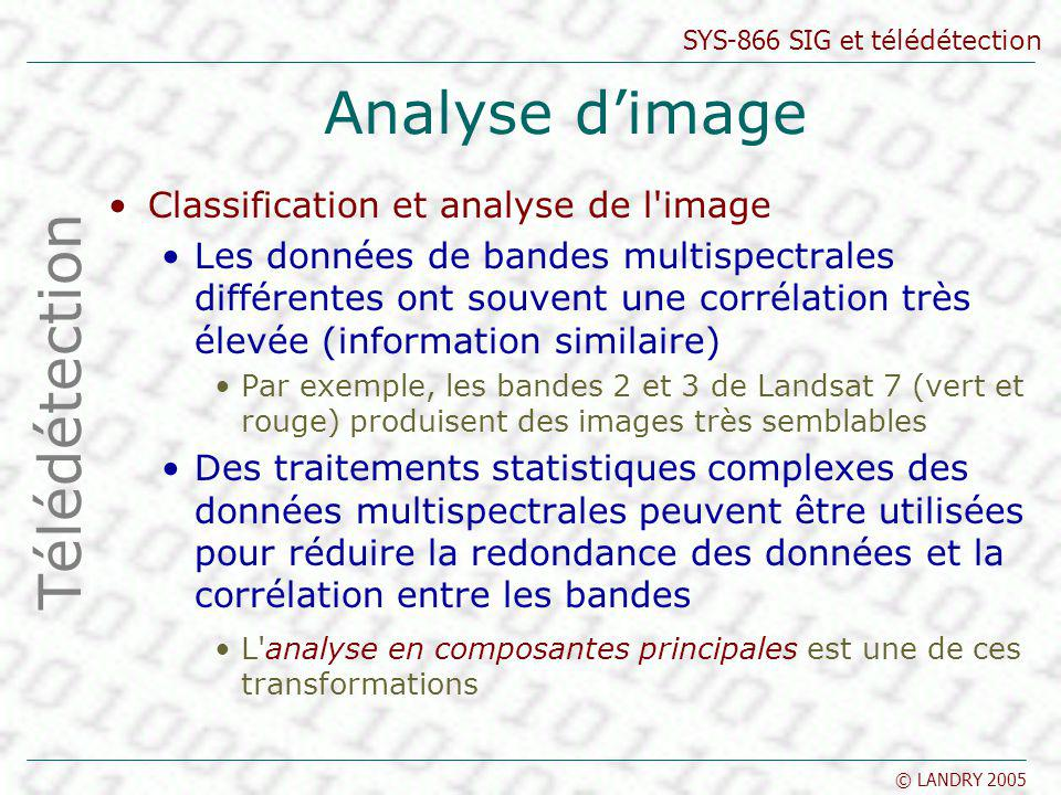 Analyse d'image Télédétection Classification et analyse de l image