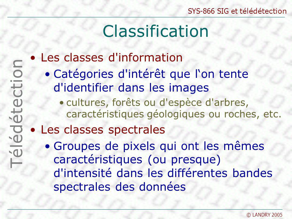 Classification Télédétection Les classes d information