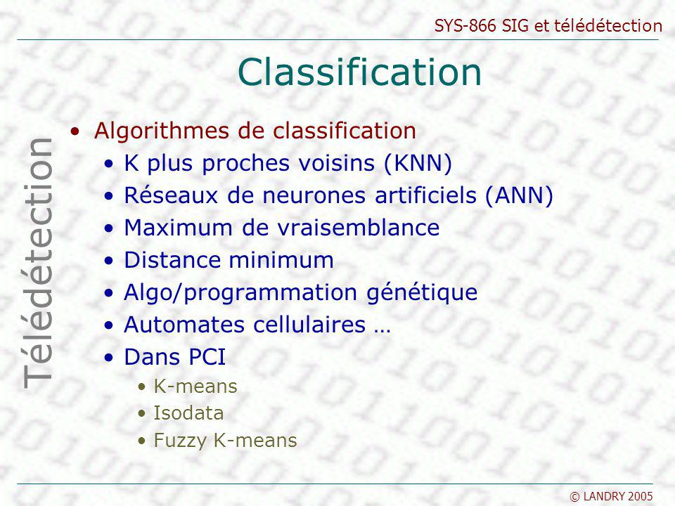 Classification Télédétection Algorithmes de classification