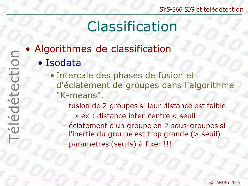 Classification Télédétection Algorithmes de classification Isodata