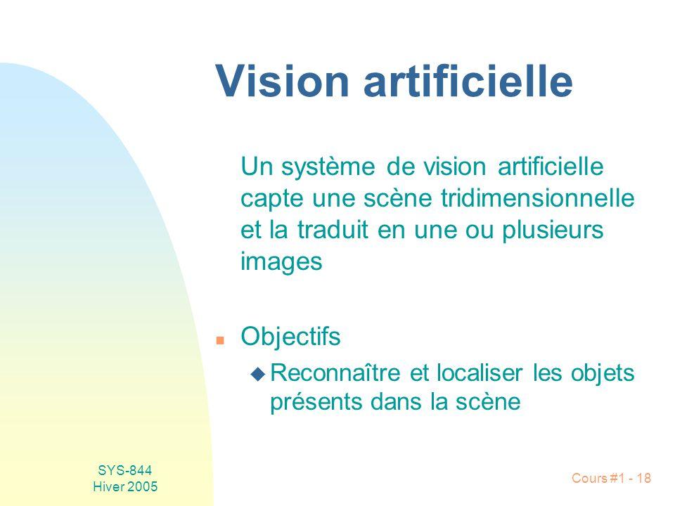 Vision artificielle Un système de vision artificielle capte une scène tridimensionnelle et la traduit en une ou plusieurs images.
