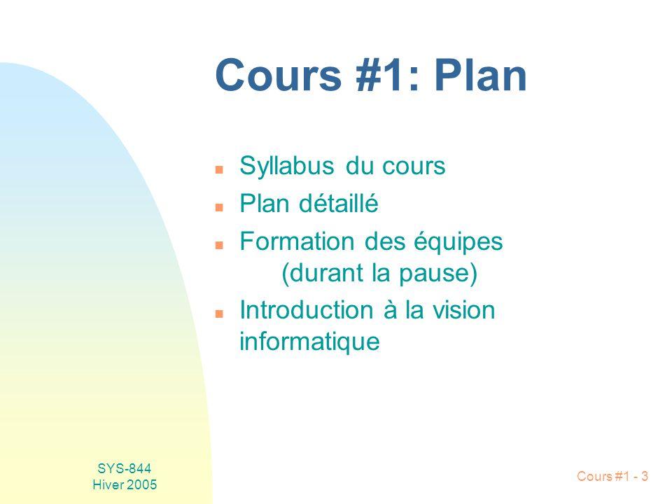 Cours #1: Plan Syllabus du cours Plan détaillé