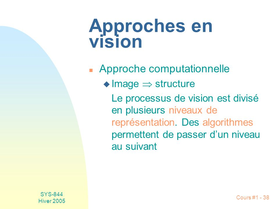 Approches en vision Approche computationnelle Image  structure