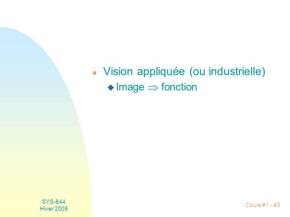Vision appliquée (ou industrielle)