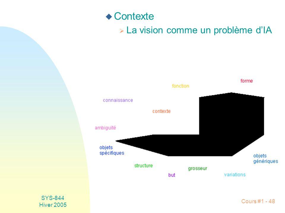Contexte La vision comme un problème d'IA