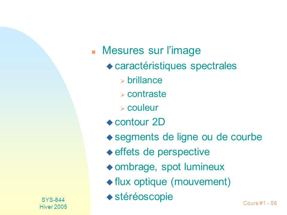 Mesures sur l'image caractéristiques spectrales contour 2D