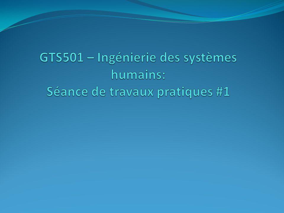 GTS501 – Ingénierie des systèmes humains: Séance de travaux pratiques #1
