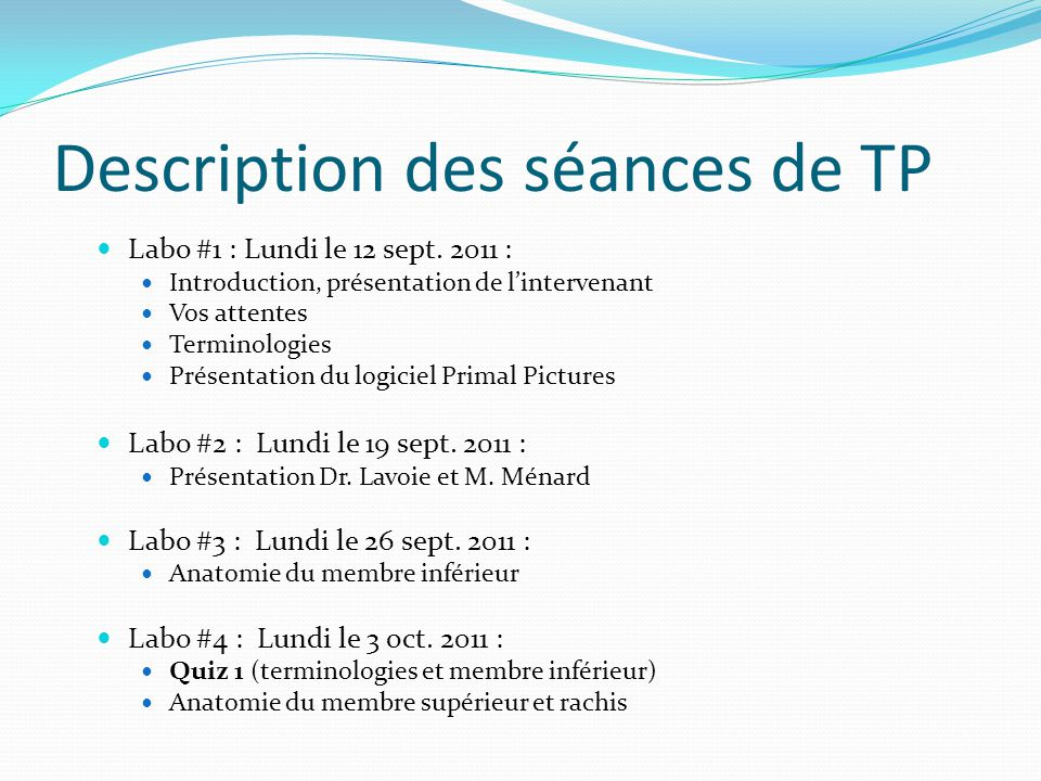 Description des séances de TP