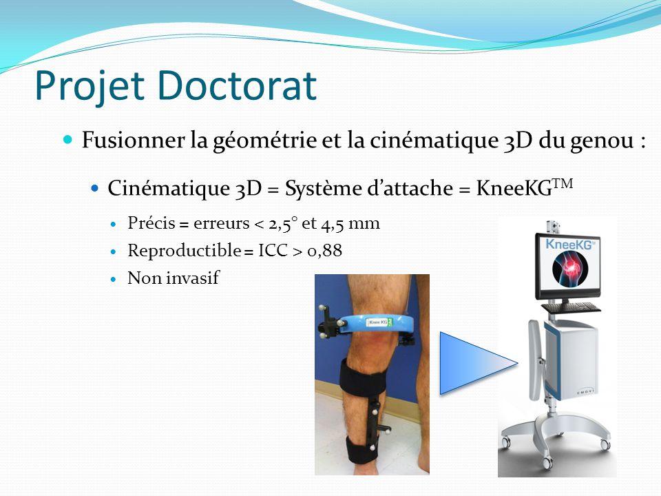 Projet Doctorat Fusionner la géométrie et la cinématique 3D du genou :