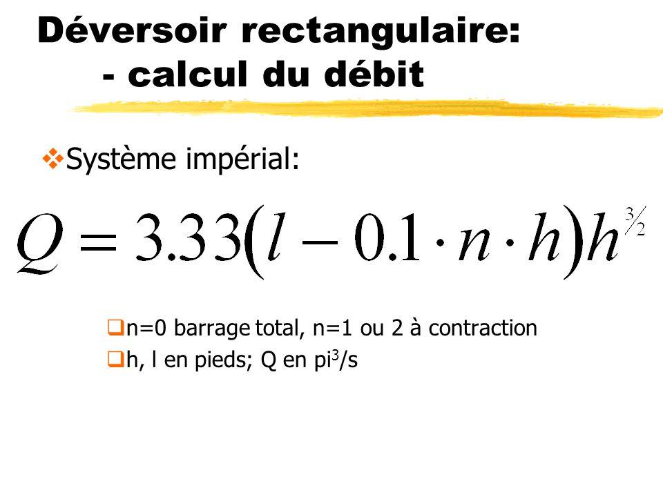 Déversoir rectangulaire: - calcul du débit