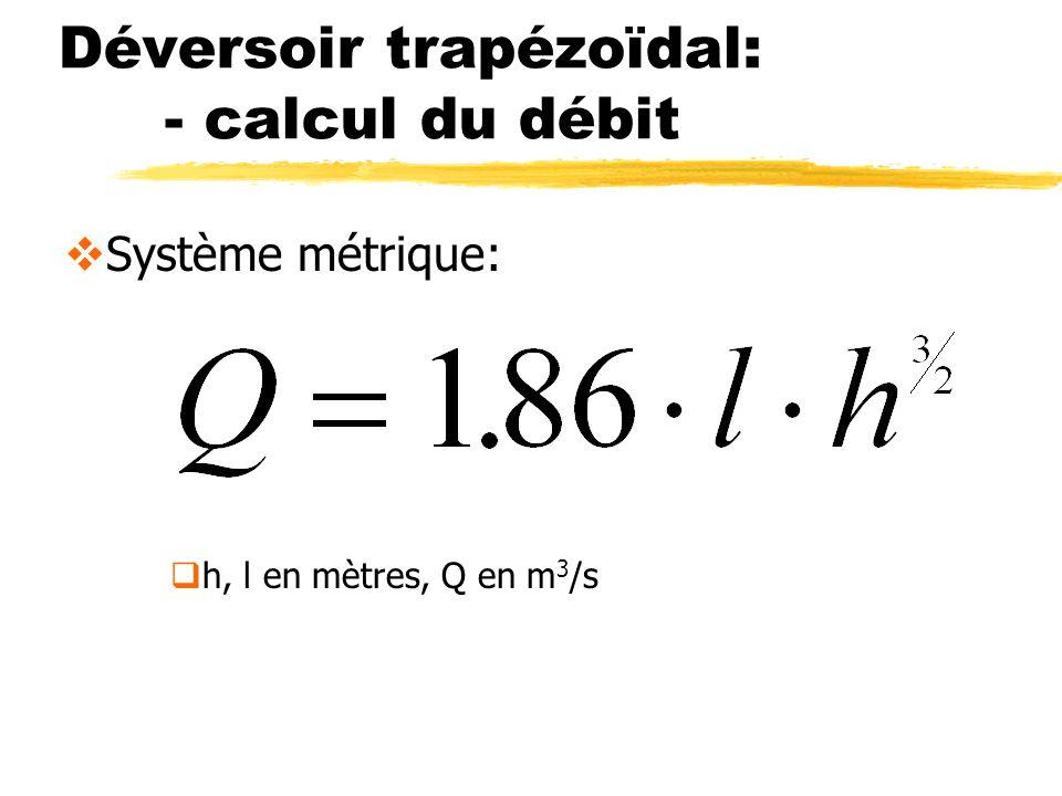 Déversoir trapézoïdal: - calcul du débit