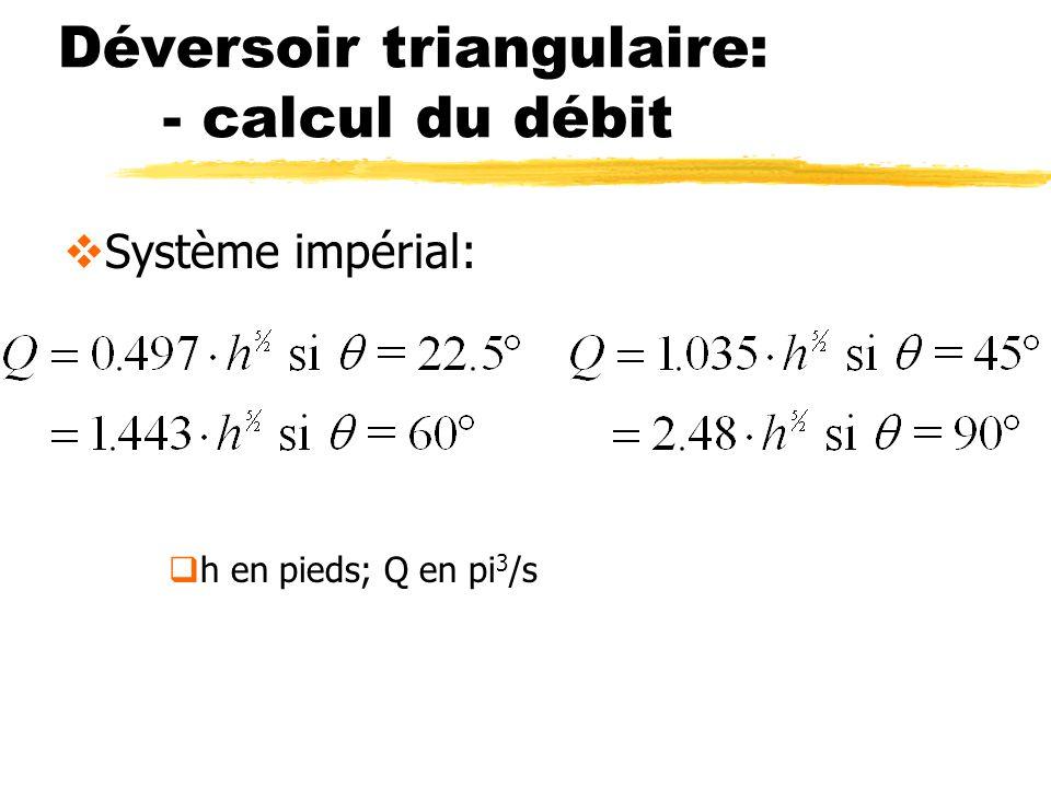 Déversoir triangulaire: - calcul du débit