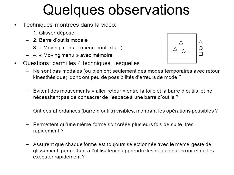 Quelques observations