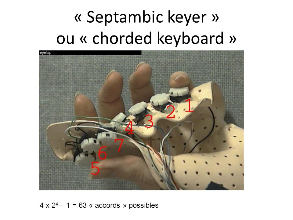 « Septambic keyer » ou « chorded keyboard »