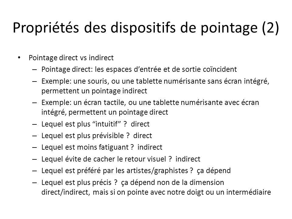 Propriétés des dispositifs de pointage (2)