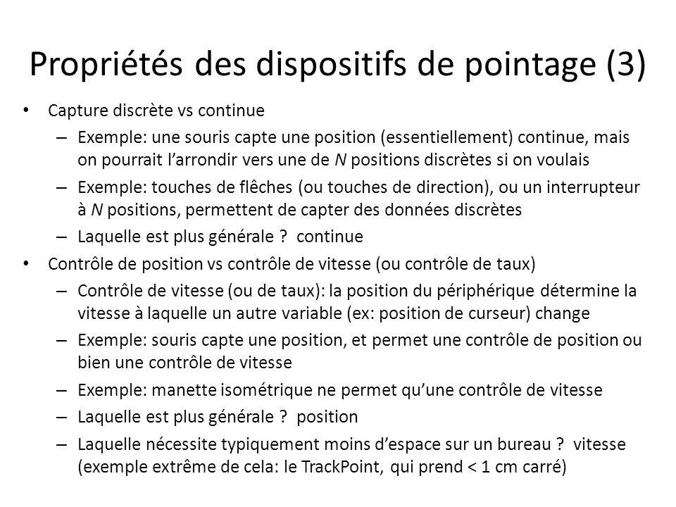 Propriétés des dispositifs de pointage (3)