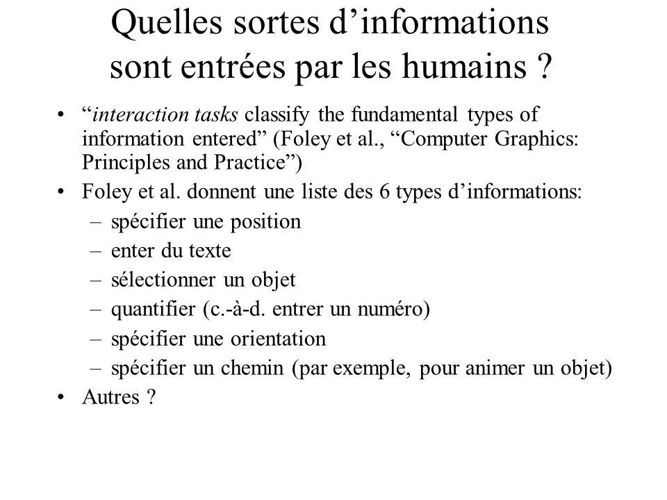 Quelles sortes d'informations sont entrées par les humains