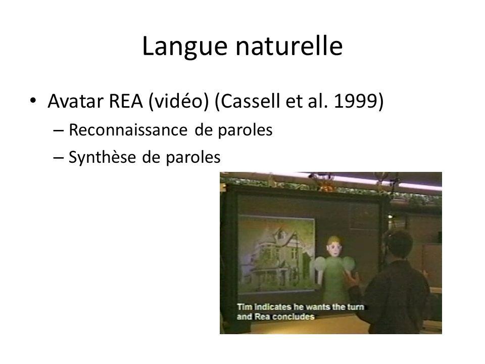 Langue naturelle Avatar REA (vidéo) (Cassell et al. 1999)