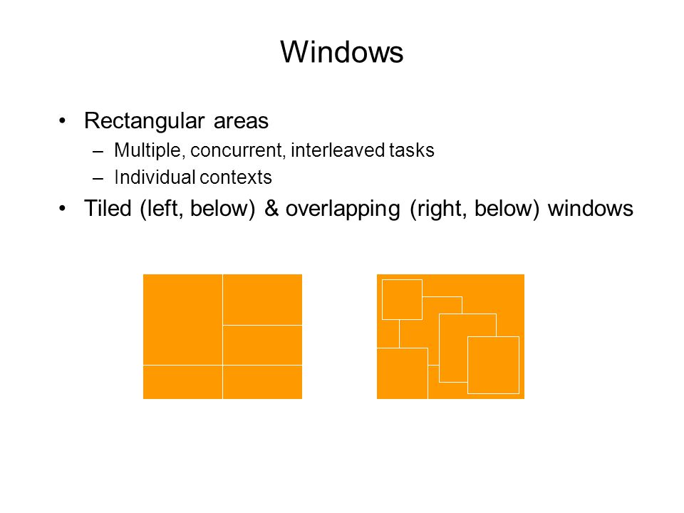 Windows Rectangular areas