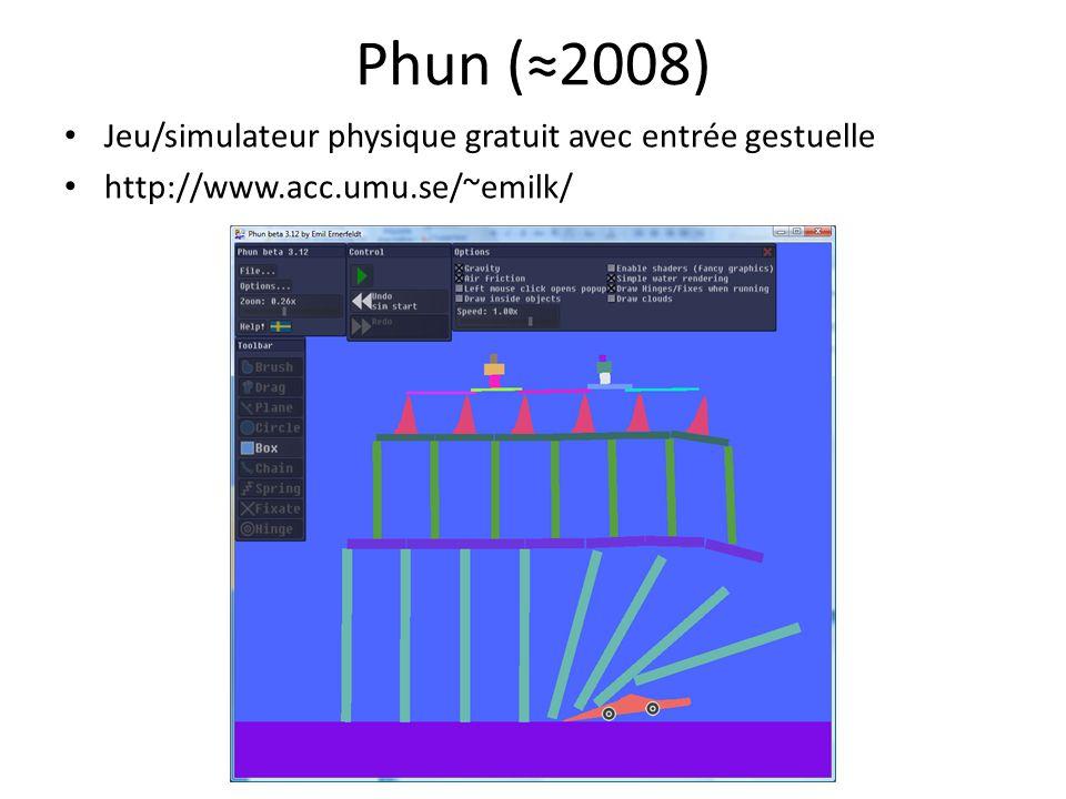 Phun (≈2008) Jeu/simulateur physique gratuit avec entrée gestuelle