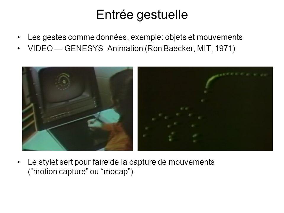 Entrée gestuelle Les gestes comme données, exemple: objets et mouvements. VIDEO — GENESYS Animation (Ron Baecker, MIT, 1971)