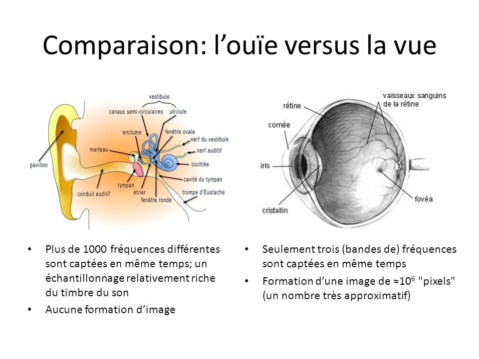 Comparaison: l'ouïe versus la vue