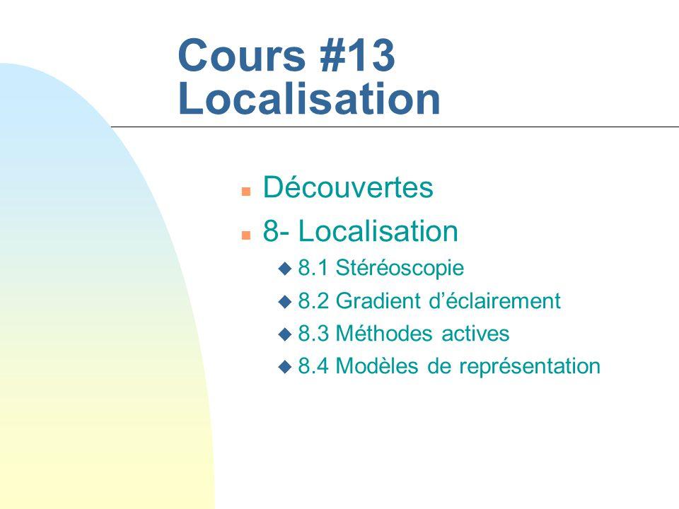 Cours #13 Localisation Découvertes 8- Localisation 8.1 Stéréoscopie
