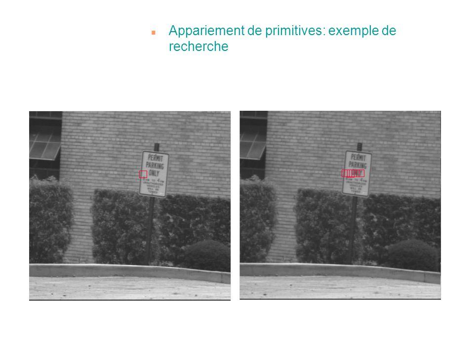 Appariement de primitives: exemple de recherche